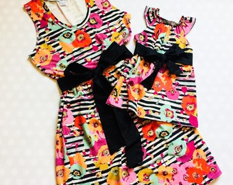 Mommy and Me Dresses - Mommy and Me Set - Mommy and Me Outfits - Mother Daughter Matching Dresses - Mothers Day - Mothers Day Gift - Stripes