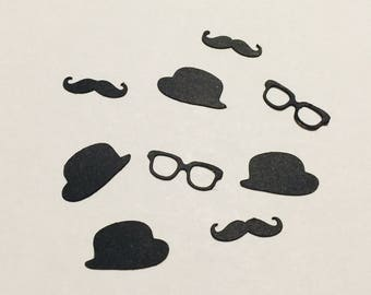 Little man party, Bachelor Confetti, Mustache die cuts, Glasses die cuts, Hat die cuts, Wedding Party decirstion, Bachelor Decoration