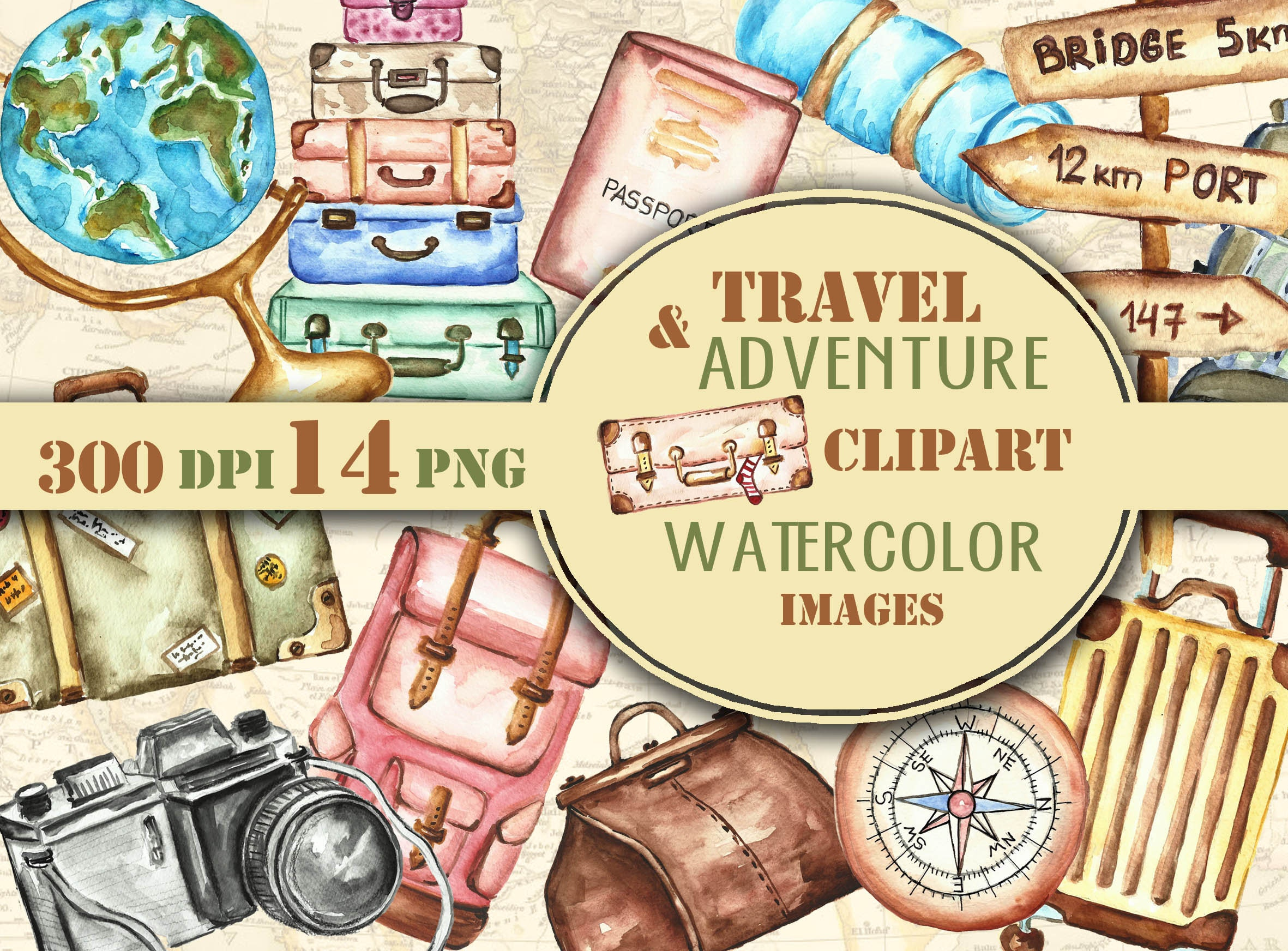 Travel & Adventure clipart watercolor hand drawn. Travel