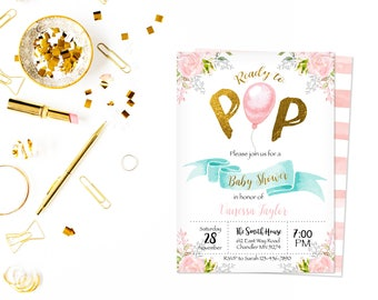 Ready to pop card,baby shower invitation,gender neutral printable,Sprinkle Invitation,Balloon Theme,Gold, Peach, Blush, Pink