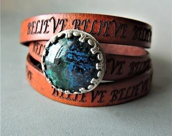 Artisan Jewelry, Azurite Cabochon, Bezel Gemstone, Cuff Bracelet, 3 x Leather Wrap Bracelet, Rustic Handcrafted, Boho Chic, Rustic