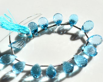 AAA Swiss Blue Topaz Faceted Pear Briolette Bead