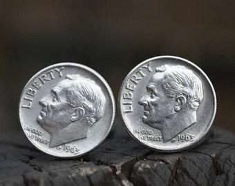 Boutons de manchette... Boutons de manchette en dime Roosevelt argent fabriqués à partir de.90 authentique argent 1963 dimes Roosevelt le patriote, dans votre vie