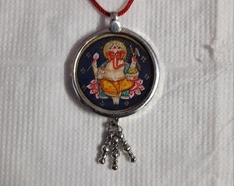 Hindu Deity God Ganesha Miniature Painting Glass Framed 92.5 Sterling Silver Bells Handmade Pendant With Colour String