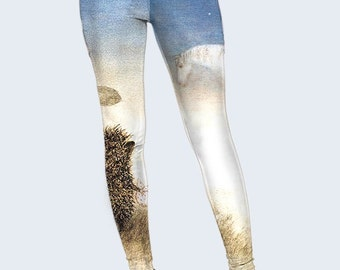 Hedgehog Leggings, Cute Leggings, Womens Leggings, Best Leggings, Leggings for Women, Cool Leggings, Fashion Leggings, Colored Leggings