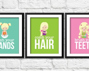 Girls bathroom rules, wash you hands, brush your teeth, comb your hair, hygiene art prints, girls bathroom decor, pink lime teal bathroom