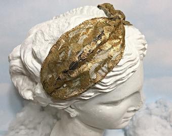 Gold lace turban headband, women's lace turban adult headband lace headpiece boho turban gold lace hair turban bohemian lace headwrap