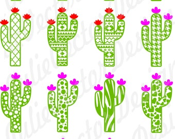 Cute Cactus Collection SVG Cutting Files, Cactus svg, Cactus cut File, Flower svg, Cactus Clip Art, svg, dxf, png, ai, eps, Cactus Vector