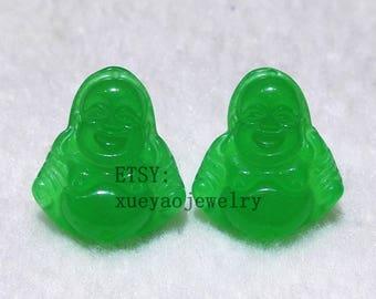Par of jade earrings, green jade earrings, jade Happy Buddha stud earrings