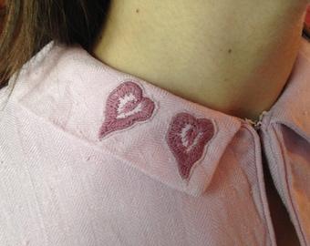 1950s pink linen wiggle dress