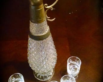 Vintage Barware Retro Glass  and Brass Liquor Decanter and 5 Cordial Glasses  Stunning Bar Set