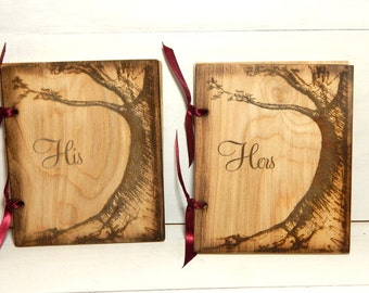 Vow Books, Booklet, Vow Books Personalized, His and Hers, Vow Book Set, Wood, Wedding Vow Books, Custom Made, Rustic Weddings