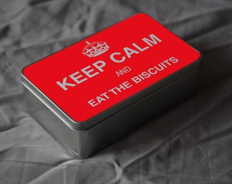 KEEP CALM And Eat The Biscuits Metal Tin