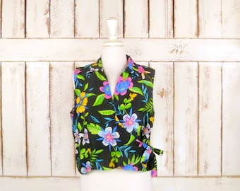 80s vintage black floral sleeveless silk crop top/floral wrap blouse/medium/large/xlarge