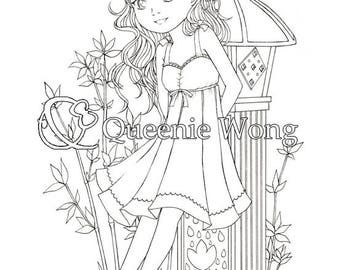 Printable coloring pages, instant download, a set of 4 coloring pages, Cute Pure Girls, CP03