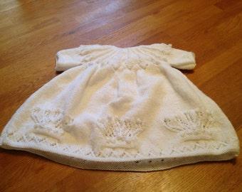 Hand knit 'Royal' Baby Dress.