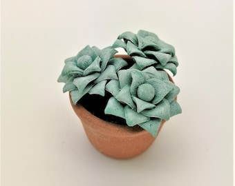 Succulent Handmade Miniature Polymer Clay Art Flowers for Dollhouse and Wedding Gifts