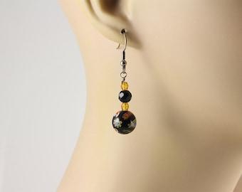 Millefiori Earrings, Flower Earrings, Glass Earrings, Dangle Earrings, Black Earrings, Millefiori Jewelry