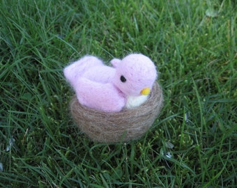 Needle Felted Pink Bird With Nest figurine