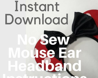 No Sew Mouse Ear Headband Pattern and Instructions | Instant Digital Download