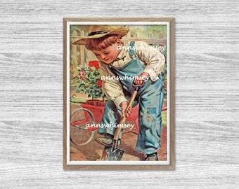 "Boy's Room Art, Little Boy's Room Decor, Home Decor, Little Farmer, Little Boy ""Grow Garden Grow""  #367  FREE SHIPPING"