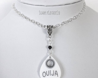Gothic White Oujia Planchette Necklace