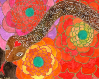 Antidote - Original Watercolour & Ink Painting Of Love Snake and Flowers