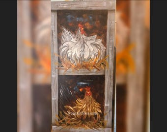 """11"""" X 24"""" #422 Chickens in Nest Original Art hand painted Acrylics"""