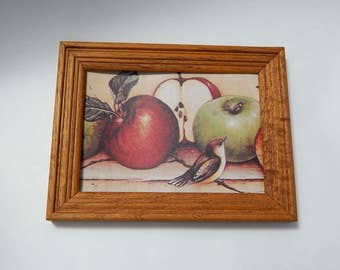 "6 1/2"" x 8 1/2"" Wood Frame Bird Apples Paper Picture Kitchen Home Wall Decor"