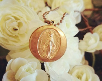 Miraculous medal locket necklace, Lord's prayer, Our father, Catholic jewelry gift