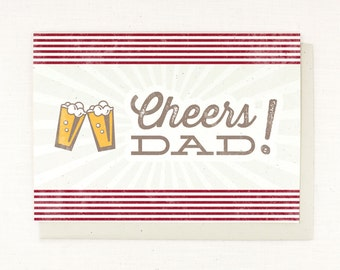 Fathers Day Card, Cheers Beers, gift for father, beer card, fathers day gift