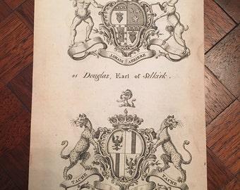 1700's Family Crest Antique Original Engraving Heraldry, Coat of Arms