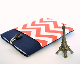"""Laptop Case 11.6"""" to 15.6"""" Laptop Sleeve, Custom Size Chromebook, MacBook Air or Pro, 12 inch Laptop, Surface Pro 3 Cover - Chevron and Navy"""