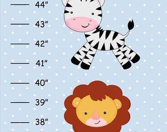 SALE Personalized Safari Jungle Animals Canvas Growth Chart