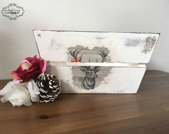 SOLD wooden crate/ Decoupage/ stag/ handpainted / storage/ shabby chic/ kitchen storage/ basket/ wood/
