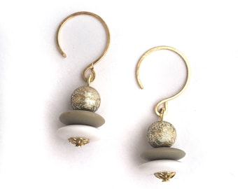 Gold, White, and Gray vintage earrings.  Nickel free lightweight, very comfortable.
