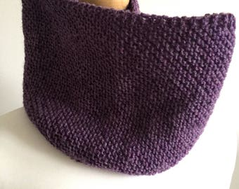 Cowl hand knitted purple scarf