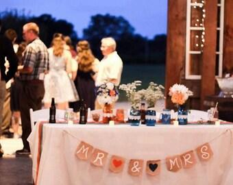 Head Table Country Wedding Banner -Rustic Mr and Mrs Banner - Rustic Burlap Banner Country Wedding Rustic Wedding