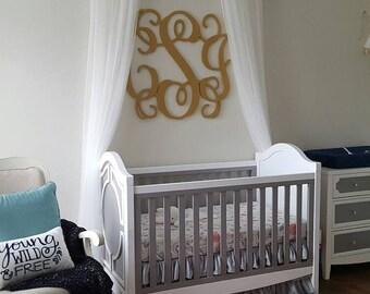Gold Wood Monogram - Monogram Wall Hanging - Wedding Monogram - Wooden Letters - Nursery Decor - Vine Script Wooden Monogram - Wall Hanging