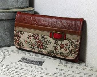 Floral, Handmade Personalized Wallet, Trifold, Vegan Friendly, Vegan Leather Wallet, Ladies Leather Wallet, Clutch Wallet, Unique, UNUSUAL