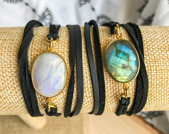 Labradorite or Moonstone Leather Wrap Bracelet