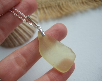 Yellow sea glass necklace, lemon sea glass necklace, Scottish sunshine yellow necklace, very rare sea glass, sterling silver, Christmas gift