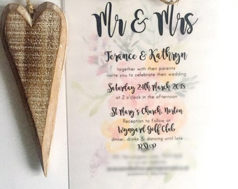 A5 Floral Watercolour Wedding Invitations With Vellum Overlay and Rustic Twine Detail- Hand Painted Flowers to Match Colour Scheme
