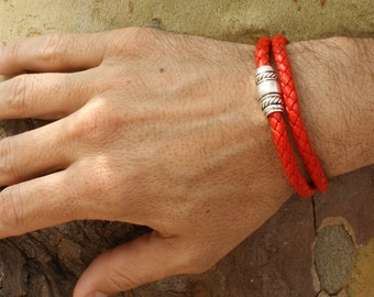 Red Leather Wrap Bracelet / Bright Red Braided Leather Bracelet / Mens and Womens Double Wrap / Taylor