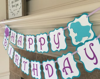 Little Mermaid Birthday Banner - Ariel Party Decorations - Under the Sea First Baby Girl Disney One 1st Banner Mermaid Party Photo Prop