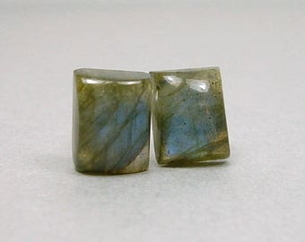 LABRADORITE 8x10mm Rectangle Cabochon Nickel Free Titanium Post Gray Green Blue Flash Gemstone Earrings Untreated