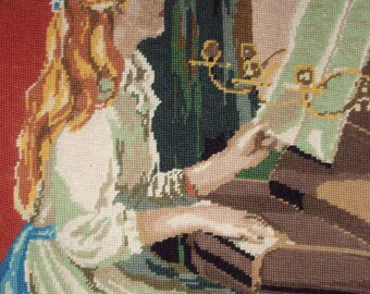Vintage French needlepoint tapestry canvas embroidery - Playing the harpsicord