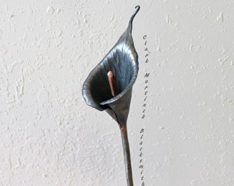 6 th anniversary flower Calla Lily, Hand forged iron flower, Iron Anniversary ,11th anniversary, steel anniversary, cala lilies