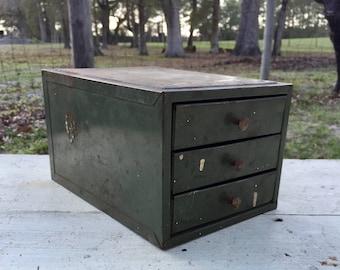 Vintage metal drawer, tool box, metal drawer, box, three drawer,dresser , storage cabinet , organizer,craft box, industrial decor, trinket