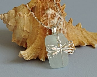 Pale Blue Maine Sea Glass and Dragonfly Pendant Necklace